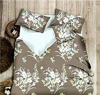 Комплект постельного белья  двуспальный Евро (4 наволочки) 200х220 сатин коричневый с бирюзовым
