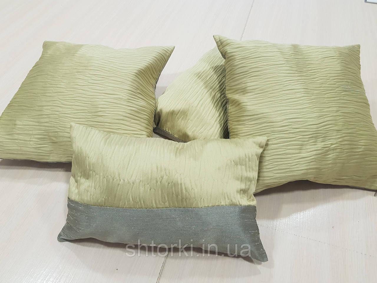 Комплект подушек Салатовая с серым жаточка, 4шт