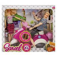 """Кукла и Кен на музыкальном скутере """"Sariel"""" (бело-розовый) 5533-B"""