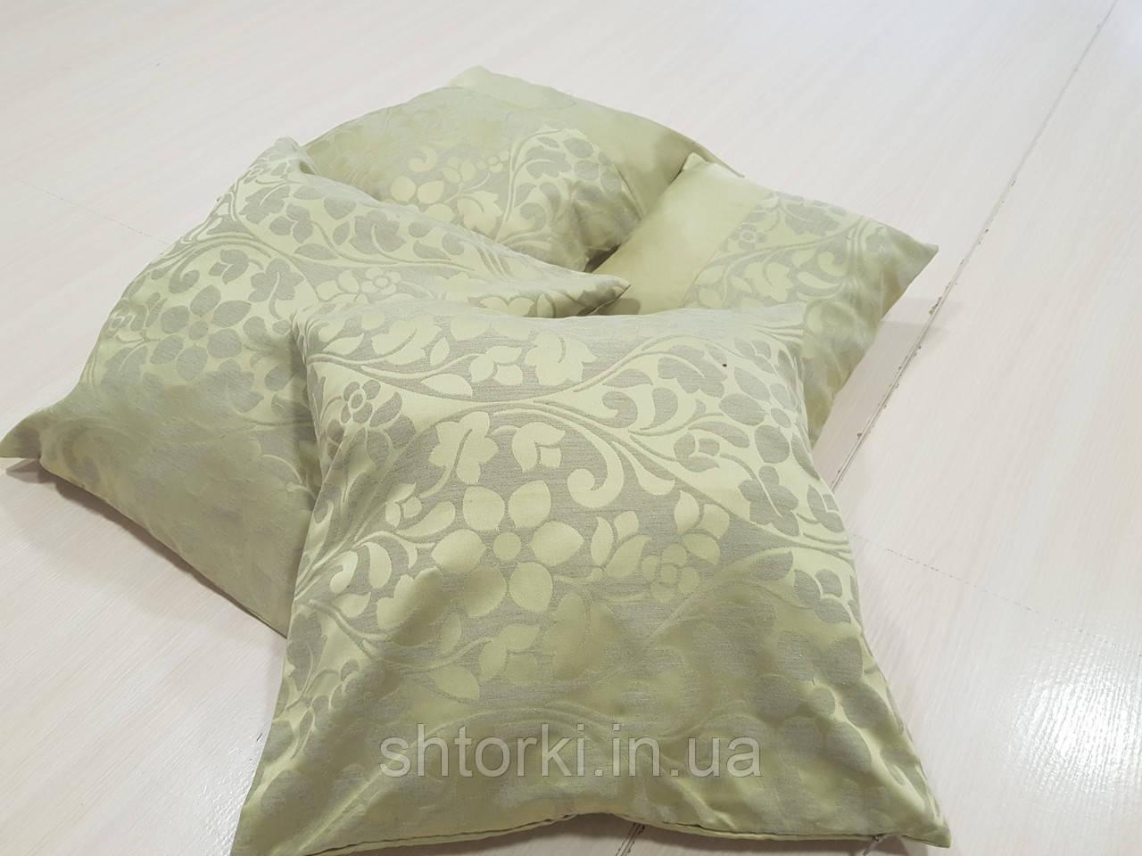 Комплект подушек горчичная с серым цветочки, 4шт