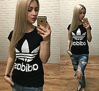 """Футболка молодежная для девушек """"Adidas"""" размер норма 44-48 темно-синего цвета"""