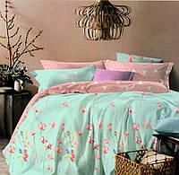 Комплект постельного белья  двуспальный Евро (4 наволочки) Сатин бирюзовый с розовым