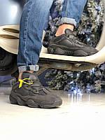 Мужские кроссовки Adidas Yeezy 500 Utility Black зимние на меху теплые