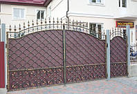 Кованые распашные ворота с калиткой, код: 01087