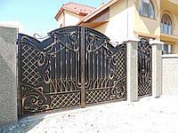 Кованые распашные ворота с калиткой, код: 01088