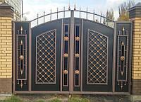 Кованые распашные ворота, код: 01089