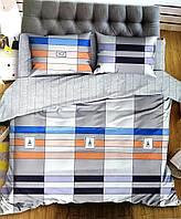 Комплект постельного белья  двуспальный Евро (4 наволочки) Сатин серый в полоску