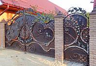 Кованые распашные ворота с калиткой, код: 01093