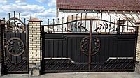 Кованые распашные ворота с калиткой, код: 01095, фото 1