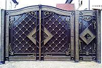 Элитные кованые ворота с калиткой, код: 01096