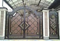 Элитные кованые ворота с калиткой, код: 01100