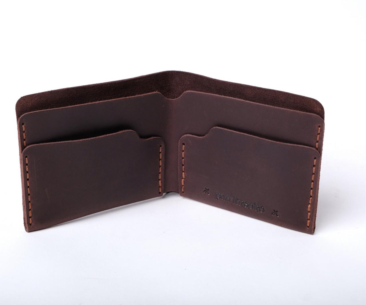 Шкіряний гаманець «Gomin Brown» чоловічий Коричневий (10,5x8,5 см) ручної роботи