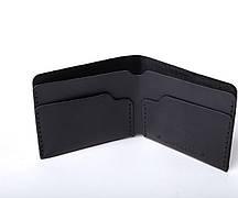 Шкіряний гаманець «Gomin Black» чоловічий Чорний (10,5x8,5 см) ручної роботи