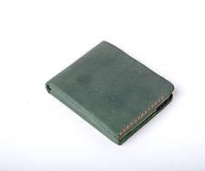 Шкіряний гаманець «Gomin Green» унісекс Зелений (10,5x8,5 см) ручної роботи, фото 2