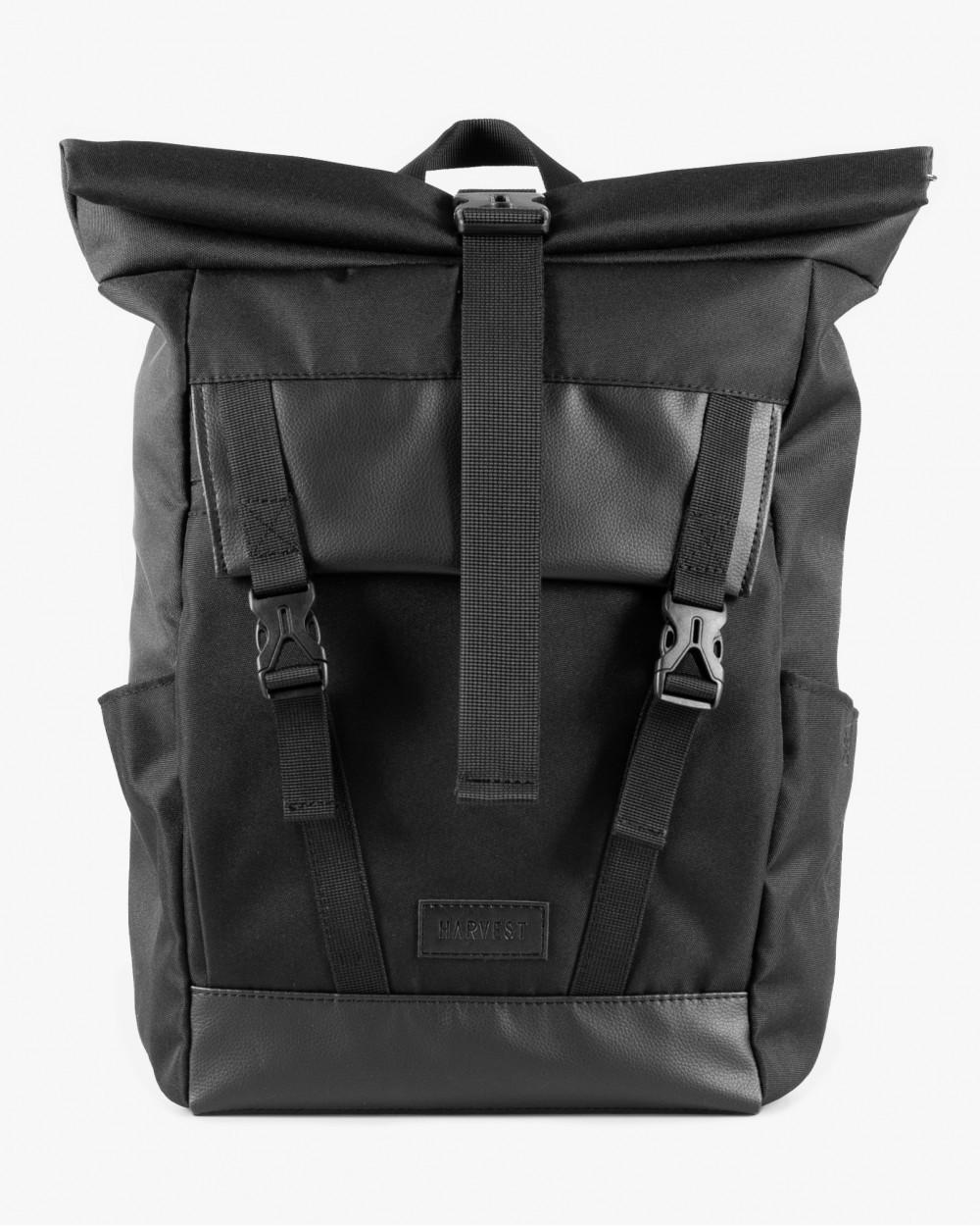 Міський рюкзак чорний HARVEST Wide1 BLACK роллтоп туристичний 42x30x14 см. 29 л. поліестр екошкіра