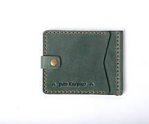Шкіряний затиск для грошей «Zosh Green» чоловічий Зелений (9x8,5 см) ручної роботи