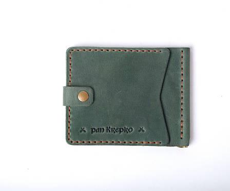 Шкіряний затиск для грошей «Zosh Green» чоловічий Зелений (9x8,5 см) ручної роботи, фото 2