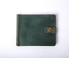 Шкіряний затиск для грошей «Zosh Green» чоловічий Зелений (9x8,5 см) ручної роботи, фото 3
