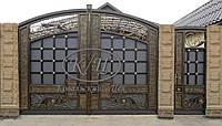 Элитные кованые ворота с калиткой, код: 01104