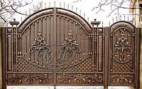 Кованые распашные ворота с калиткой, код: 01105