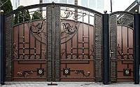 Кованые распашные ворота с калиткой, код: 01106