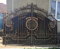 Кованые распашные ворота с калиткой, код: 01107