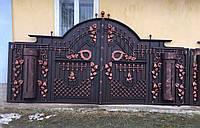 Кованые распашные ворота с калиткой, код: 01109