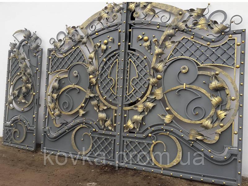 Кованые распашные ворота с калиткой, код: 01110