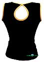 Топ майка VK с окантовкой хлопок-90% лайкра 10%  черный + оранжевый, фото 2
