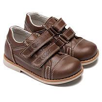 Коричневые кожаные ортопедические туфли Екоби, на мальчика, размер 20-30