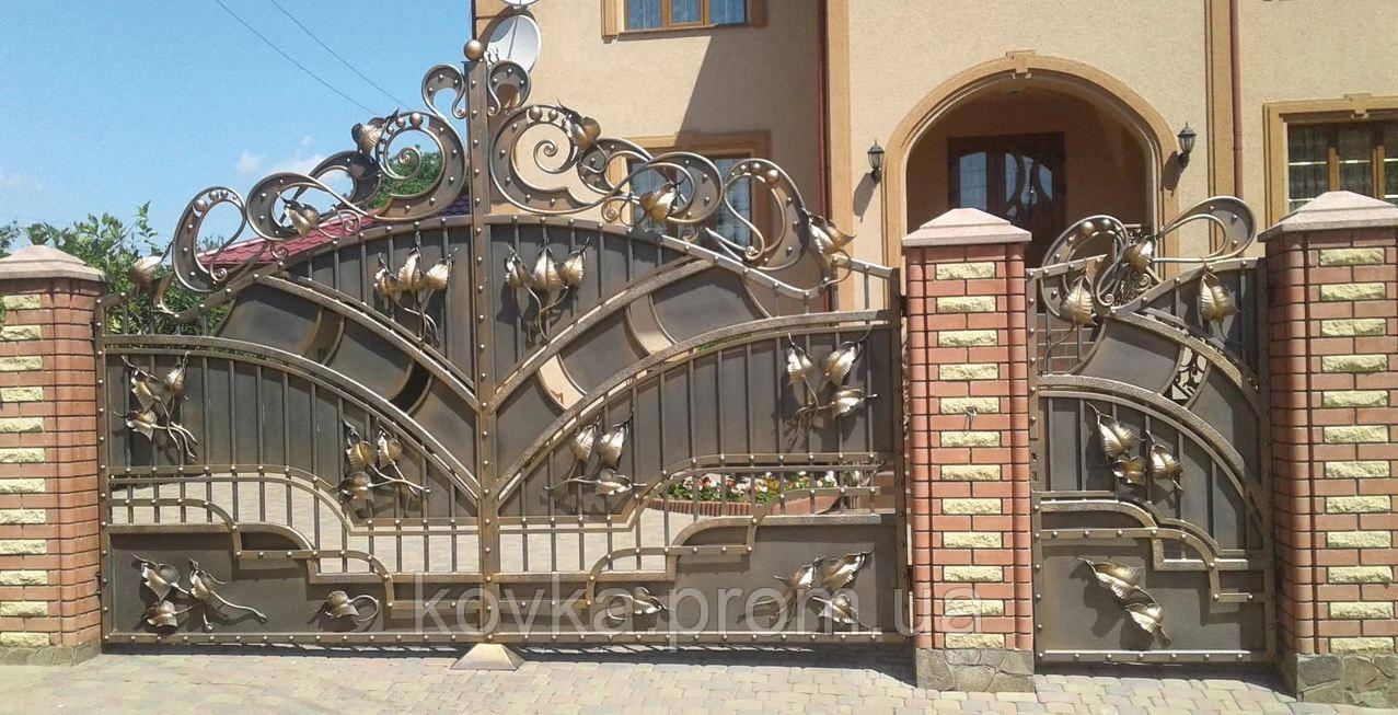 Кованые распашные ворота с калиткой, код: 01115