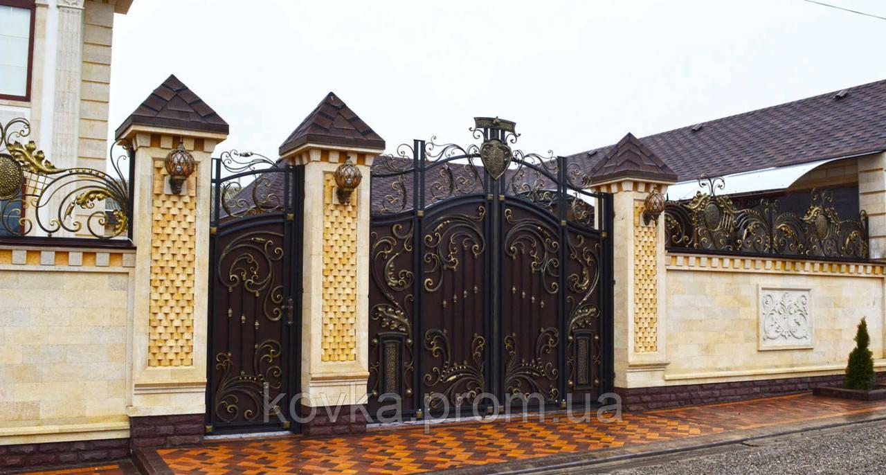 Кованые распашные ворота с калиткой, код: 01119