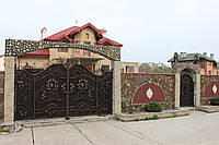 Кованые распашные ворота с калиткой, код: 01120