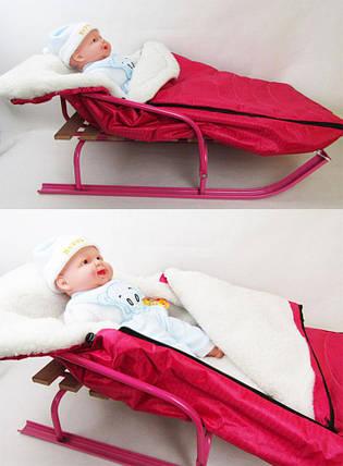Матрацик-конверт для санок хутровий BABY_2 Темно Рожевий, BABY_2 Т Розов, фото 2