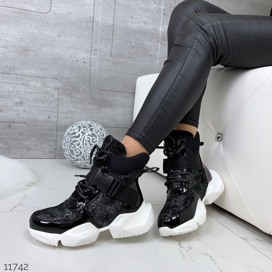 Кроссовки высокие блестящие