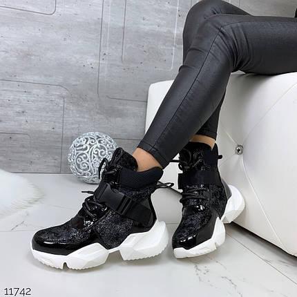 Кроссовки высокие блестящие, фото 2