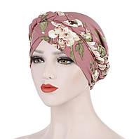 Чалма шапочка пудровая с принтом цветы