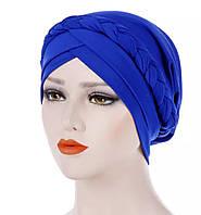 Стильная чалма шапка хиджаб однотонная с косой электрик