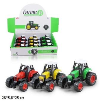 Трактор металевий, інерційний, 3 кольори, MY66-001