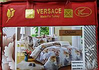Комплект постельного белья евро размер Байка-сатин VERSACE  (F-562)