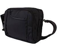 Горизонтальная сумка из ткани черного цвета Nobol 30812 Черная, фото 1
