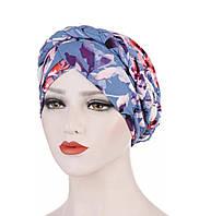 Модная шапка чалма голубая с принтом цветы сиреневые