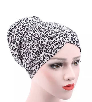 Роскошная чалма хиджаб цвет леопард серый