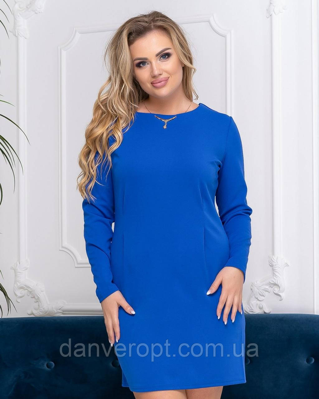 Платье женское модное однотонное размер 46-52 купить оптом со склада 7км Одесса