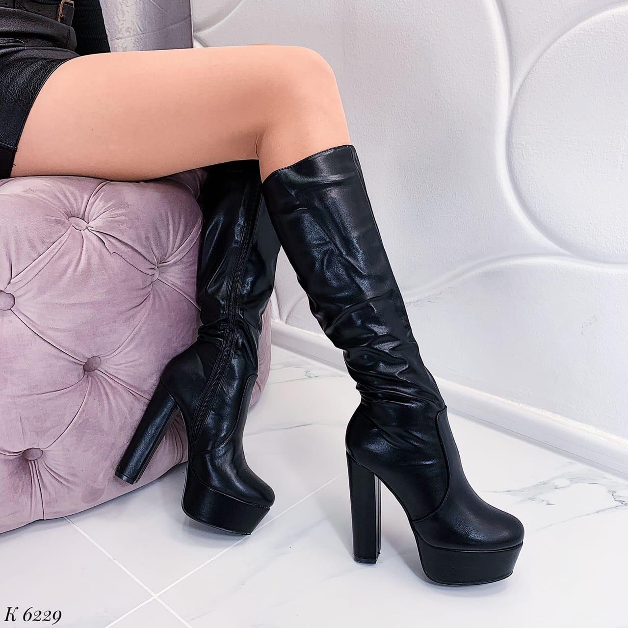 37 р. Сапоги женские деми черные на высоком каблуке, демисезонные