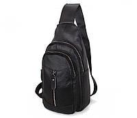 Мужская кожаная сумка-рюкзак Dovhani Bon318-1 Черная, фото 1