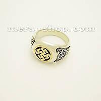 Цветок Папоротника серебряный перстень с золотом