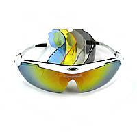 Спортивные вело очки Oakley со сменными линзами белые