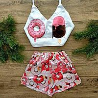 Шелковая женская пижама Мороженое. Пеньюар, Ночная сорочка