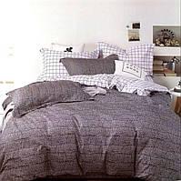 Комплект постельного белья  двуспальный Евро (4 наволочки) Сатин черно-белый горошек